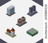 isometric urban set of... | Shutterstock .eps vector #645880318