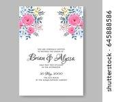 wedding invitation floral... | Shutterstock .eps vector #645888586