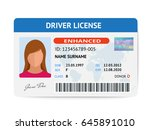 flat woman driver license... | Shutterstock .eps vector #645891010