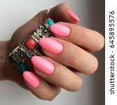 pink trendy manicure   Shutterstock . vector #645895576