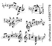 curly musical scores with notes ... | Shutterstock .eps vector #645897778