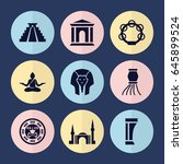Set Of 9 Culture Filled Icons...