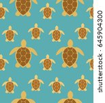 sea turtles seamless pattern.... | Shutterstock .eps vector #645904300