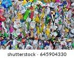plastic waste bottles... | Shutterstock . vector #645904330