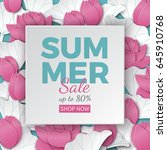 summer sale banner with paper... | Shutterstock .eps vector #645910768