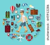 smiling cartoon tourist man... | Shutterstock .eps vector #645912286