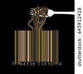 fork spaghetti barcode design... | Shutterstock .eps vector #645912418