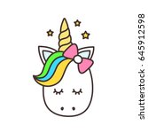 cute unicorn face.vector... | Shutterstock .eps vector #645912598