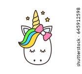 cute unicorn. vector cartoon... | Shutterstock .eps vector #645912598