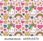 cute unicorn  princess concept  ... | Shutterstock .eps vector #645915373