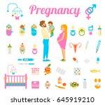 childbirth and motherhood.... | Shutterstock .eps vector #645919210