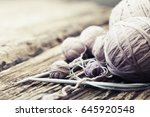 vintage knitting needles and... | Shutterstock . vector #645920548