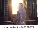 arabic man looking to the... | Shutterstock . vector #645920779