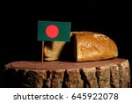 bangladesh flag on a stump with ... | Shutterstock . vector #645922078