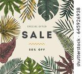 botanical illustration tropical ... | Shutterstock .eps vector #645926938