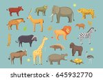 african animals cartoon vector... | Shutterstock .eps vector #645932770