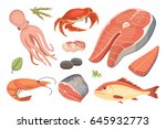 vector seafood illustrations... | Shutterstock .eps vector #645932773
