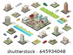 isometric city constructor... | Shutterstock .eps vector #645934048