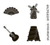 fan spanish  mill  guitar ... | Shutterstock .eps vector #645956749