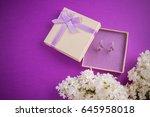 silver earrings with amethyst... | Shutterstock . vector #645958018