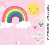 cute rainbow clouds sun raining ... | Shutterstock .eps vector #645961069