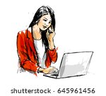 colored hand sketch of working... | Shutterstock .eps vector #645961456