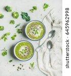 spring detox broccoli green... | Shutterstock . vector #645962998