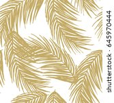 pattern with golden palm leaves.... | Shutterstock .eps vector #645970444