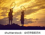 kid silhouette moments of the... | Shutterstock . vector #645988054