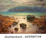 original oil painting on canvas ...   Shutterstock . vector #645989749