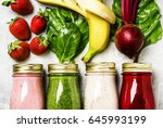 multicolored smoothies and... | Shutterstock . vector #645993199