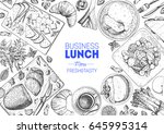 business lunch top view frame.... | Shutterstock .eps vector #645995314