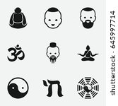 buddhism icon. set of 9... | Shutterstock .eps vector #645997714