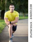 fitness man stretching arm...   Shutterstock . vector #646001338