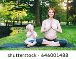 beautiful pregnant woman and... | Shutterstock . vector #646001488
