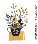 cute bouquet of flowers and...   Shutterstock .eps vector #646003564