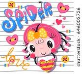 Cute Cartoon Spider Girl...