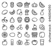 fruit icons set. set of 36... | Shutterstock .eps vector #646004050