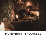 monk chronicler writes an... | Shutterstock . vector #646006618