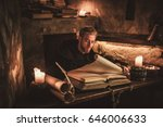 monk chronicler writes an... | Shutterstock . vector #646006633