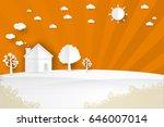 minimalist landscape house on... | Shutterstock .eps vector #646007014