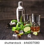 composition of glasses with rum ... | Shutterstock . vector #646007080