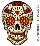 Stock vector vector illustration of an ornately decorated day of the dead dia de los muertos sugar skull or 646013734