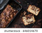 slices of banana bread with... | Shutterstock . vector #646014670