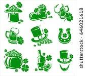 leaf clover labels and elements ... | Shutterstock .eps vector #646021618