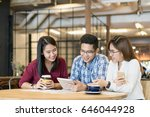team group asian freelancer are ... | Shutterstock . vector #646044928