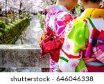 kimono women in traditional...   Shutterstock . vector #646046338