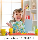smiling child girl is learning... | Shutterstock . vector #646050640