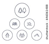 set of 6 camping outline icons... | Shutterstock .eps vector #646061488