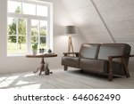 white room with sofa and green... | Shutterstock . vector #646062490